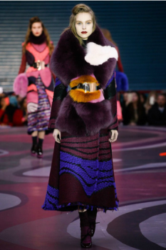 Roksanda showcasing thier stunning & bold tones of rich plum and hot fuchsia fur wraps, as wel as textured embroyded skirts.